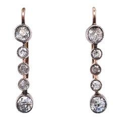 Antique Old European Cut Diamond 18 Karat Gold Drop Earrings