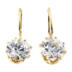 Antique Old European Cut Diamond Gold Pendant Earrings