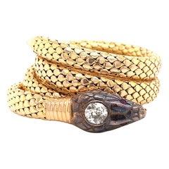 Antique Old European Cut Diamond Gold Snake Wrap Bracelet