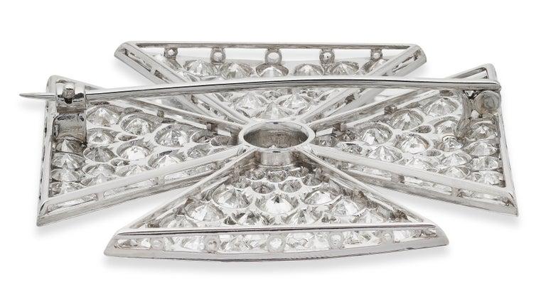 Retro Antique Old European Cut Diamond Maltese Cross Brooch in Platinum For Sale