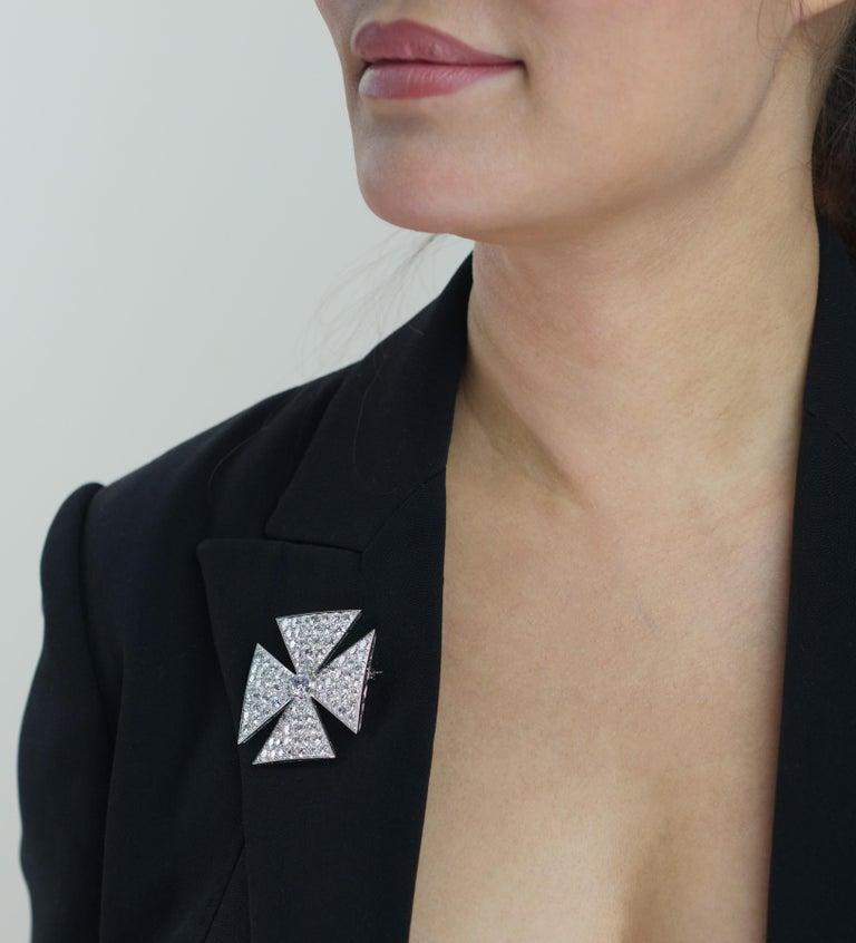 Women's Antique Old European Cut Diamond Maltese Cross Brooch in Platinum For Sale