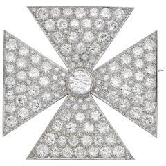 Antique Old European Cut Diamond Maltese Cross Brooch in Platinum