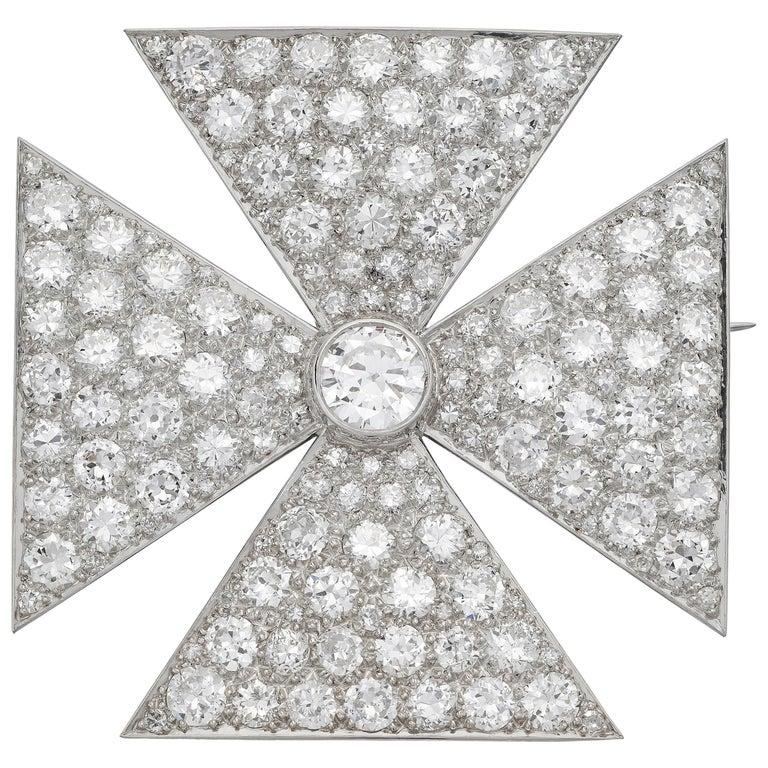 Antique Old European Cut Diamond Maltese Cross Brooch in Platinum For Sale