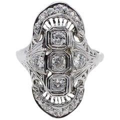 Antique Old European Cut Diamond Navette 14 Karat White Gold Cocktail Ring