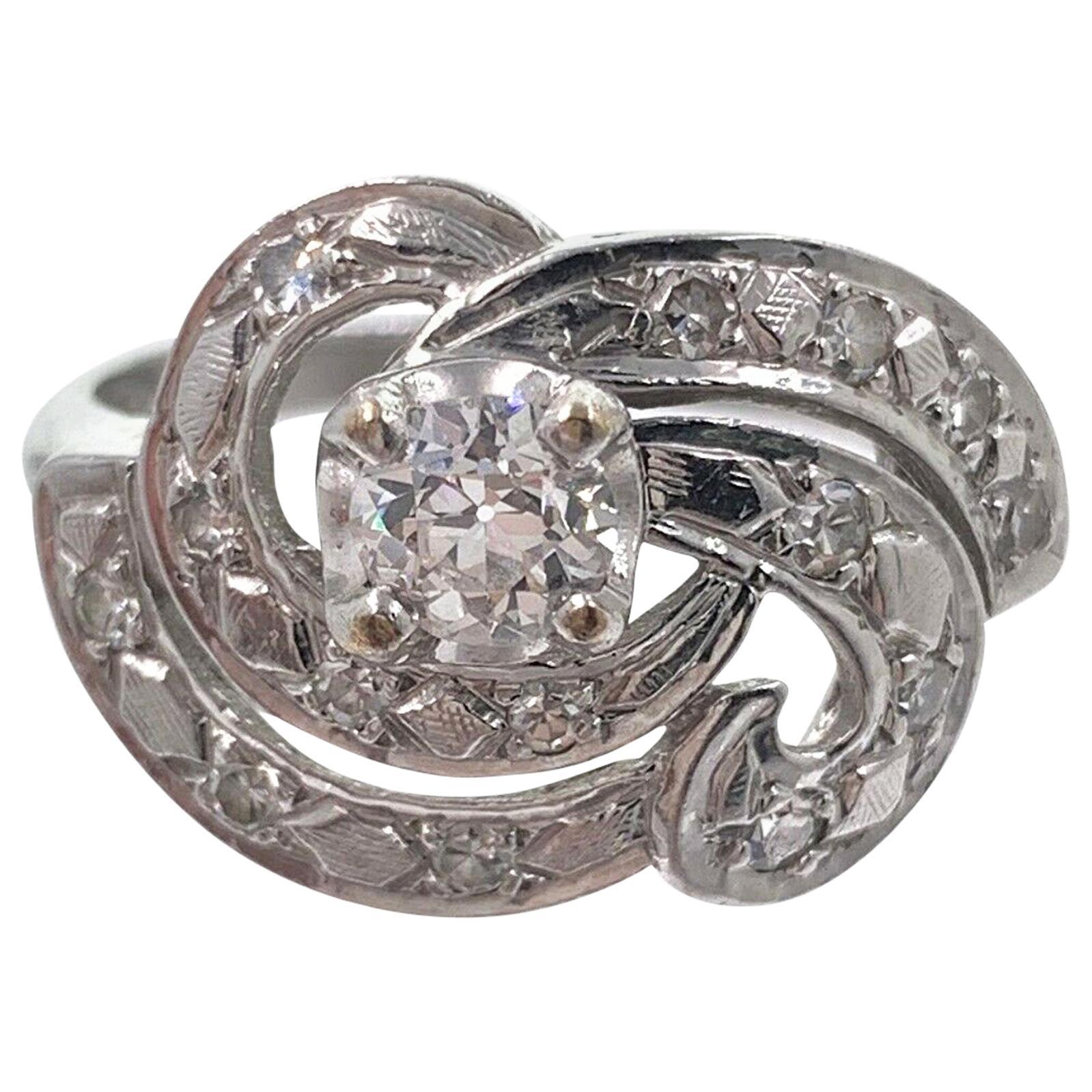 Antique Old European Cut Diamond Swirl Ring 14 Karat White Gold