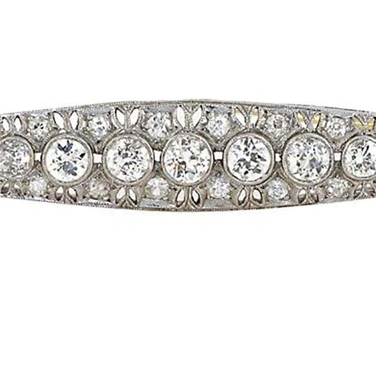 Antique Old European Cut Diamonds Platinum Brooch. Over 3 carats of diamonds In Excellent Condition For Sale In Beverly Hills, CA