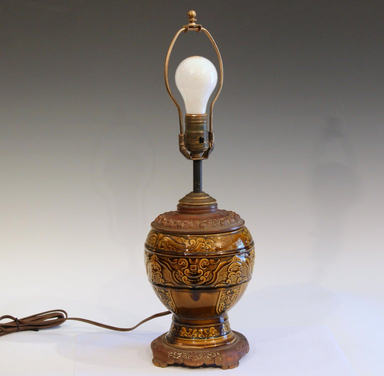Hand-Crafted Antique Old Gien French Pottery Deck Style Oil Lamp 19th Century Electrified For Sale