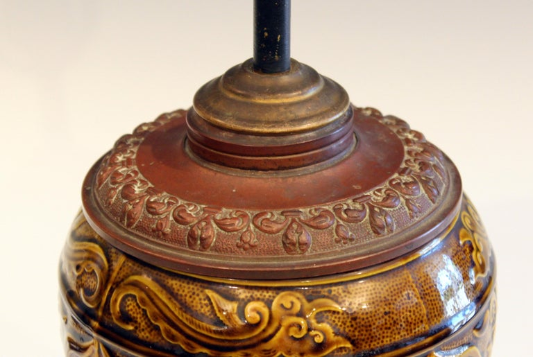 Antique Old Gien French Pottery Deck Style Oil Lamp 19th Century Electrified In Good Condition For Sale In Wilton, CT