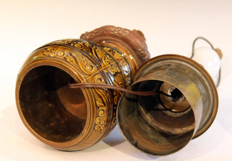 Antique Old Gien French Pottery Deck Style Oil Lamp 19th Century Electrified For Sale 3