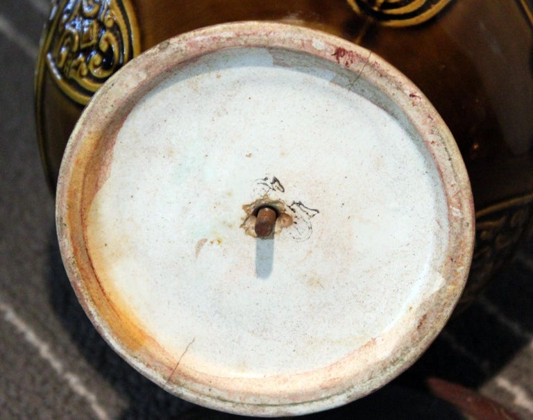 Antique Old Gien French Pottery Deck Style Oil Lamp 19th Century Electrified For Sale 4