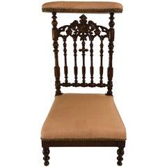 Antique Old Louisiana Carved Mahogany Prayer Chair, circa 1850-1860