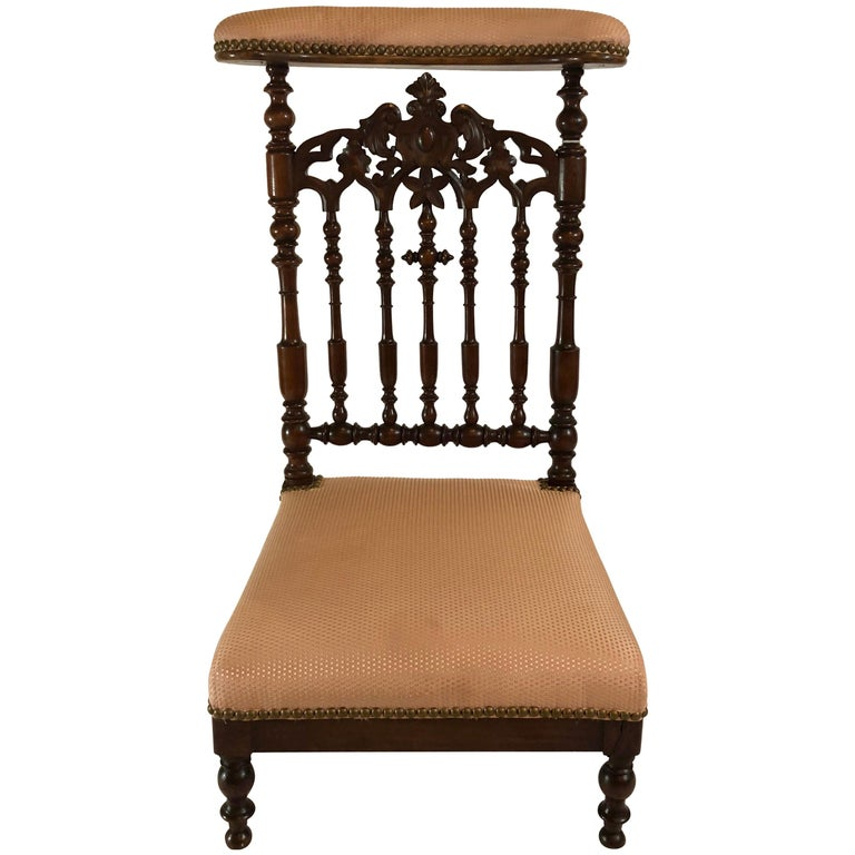 Antique Old Louisiana Carved Mahogany Prayer Chair, circa 1850-1860 For Sale
