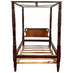 Antique Old Louisiana Heirloom Mahogany Tester Bed, circa 1860-1880