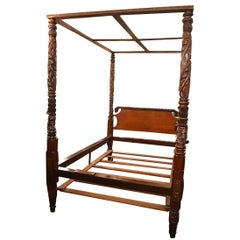 Antique Old Louisiana Heirloom Mahogany Tester Bed