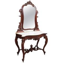 Antique Old Louisiana Mahogany Dressing Table