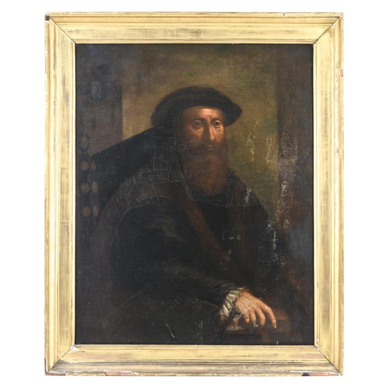 Antique Old Master Style Portrait Painting For Sale