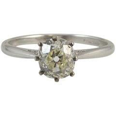 Antique Old Mine Cut 0.75 Carat Diamond Solitaire Engagement Ring, Platinum Band