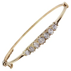 Antique Old Mine Cut 2 Carat Diamond 14 Karat Yellow Gold Bangle Bracelet