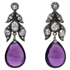 Antique Old Mine Cut Diamond and Amethyst Pendant Earrings in Silver and Gold