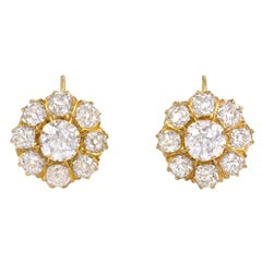 Antique Old Mine Cut Diamond and Gold Cluster Earrings