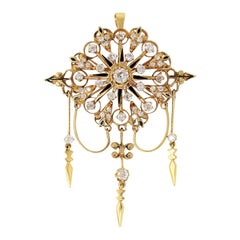 Antique Old Mine Cut Diamond Chandelier Pendant or Brooch 14 Karat Yellow Gold