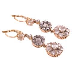 Antique Old Mine Cut Diamond Drop Earrings 18 Karat Gold