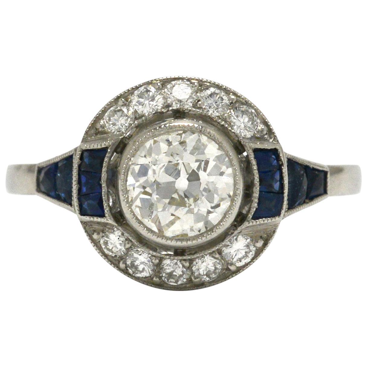 Old Mine Cut Diamond Engagement Ring Blue Sapphire Art Deco Style Platinum