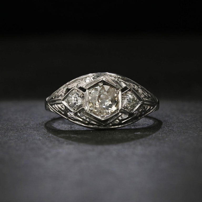 Old Mine Cut Antique Old Mine-Cut Diamond Engagement Ring For Sale