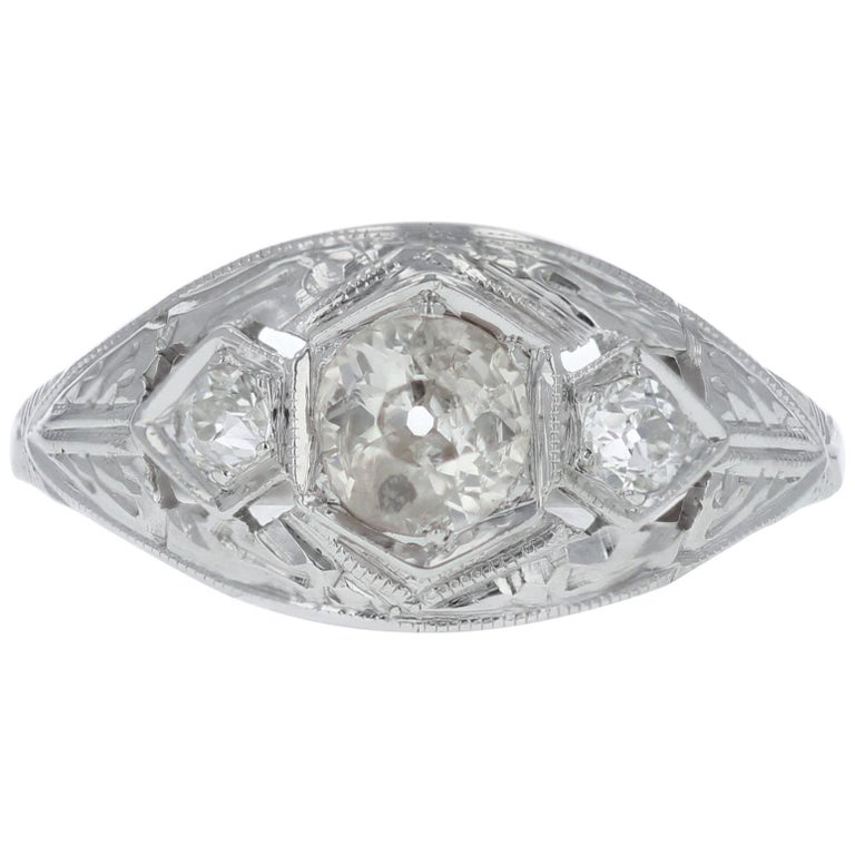 Antique Old Mine-Cut Diamond Engagement Ring For Sale