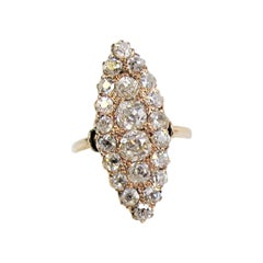 Antique Old Mine Cut Diamond Navette Ring 14 Karat Rose Gold 1.65 Carats Total