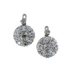 Antique Old Mine Cut Diamond Platinum Drop Earrings