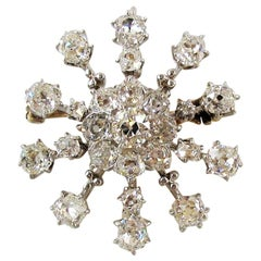 Antique Old Mine Cut Diamond Snowflake Brooch / Pendant Platinum and Yellow Gold