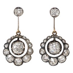 Antique Old Mine Diamond Earrings with Articulated Drops in Scalloped Surrounds