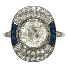 Antique Old Mine Diamond Sapphire Engagement Ring Art Deco Style Near 3 Carat