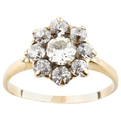 Antique Old Miner's Cut 1.20 Carat Diamond Cluster Ring in Yellow Gold