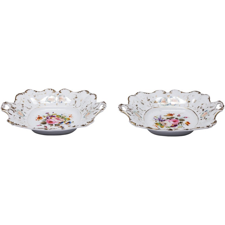 Antique Old Paris Hand-Painted Dishes Set of Two For Sale