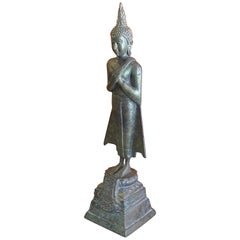 Antique Old Siam / Thai Cast Bronze Ayuttaya Buddha