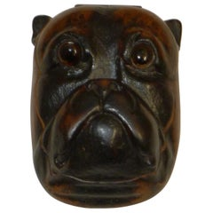 Antique Olive Wood Postage Stamp Box - Bulldog, circa 1890
