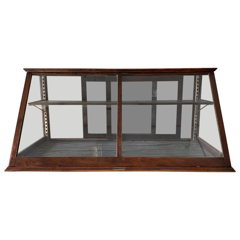Antique one-tier tabletop store display cabinet by Waddell Company Inc, Greenfield, Ohio.