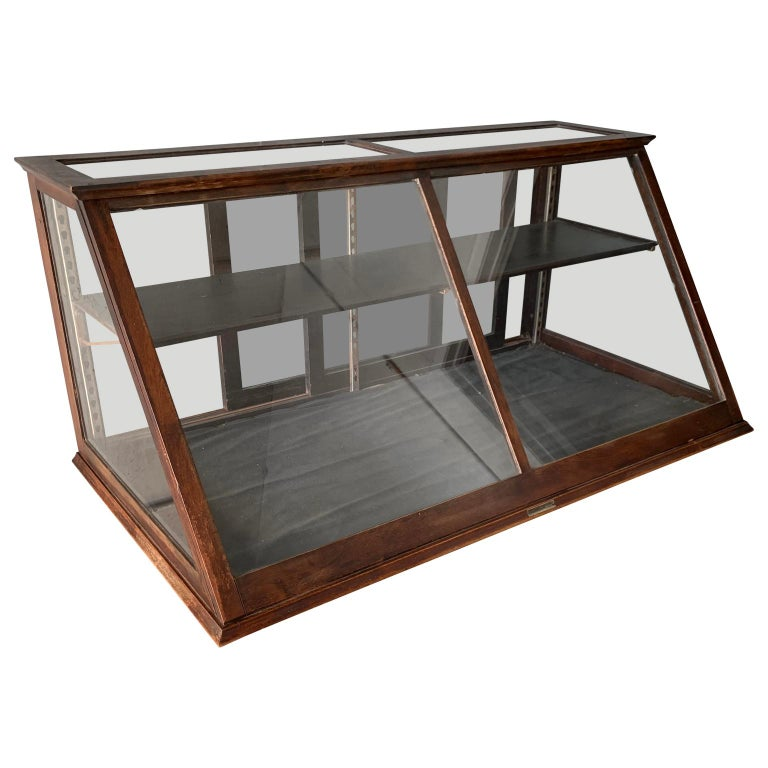 Antique One Tier Wooden Tabletop Store Display Cabinet By Waddell