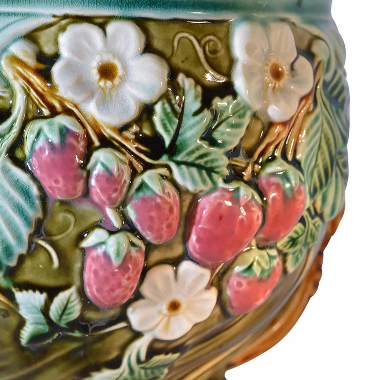20th Century Antique Onnaing Majolica Jardinière Bowl with Strawberry Accents For Sale