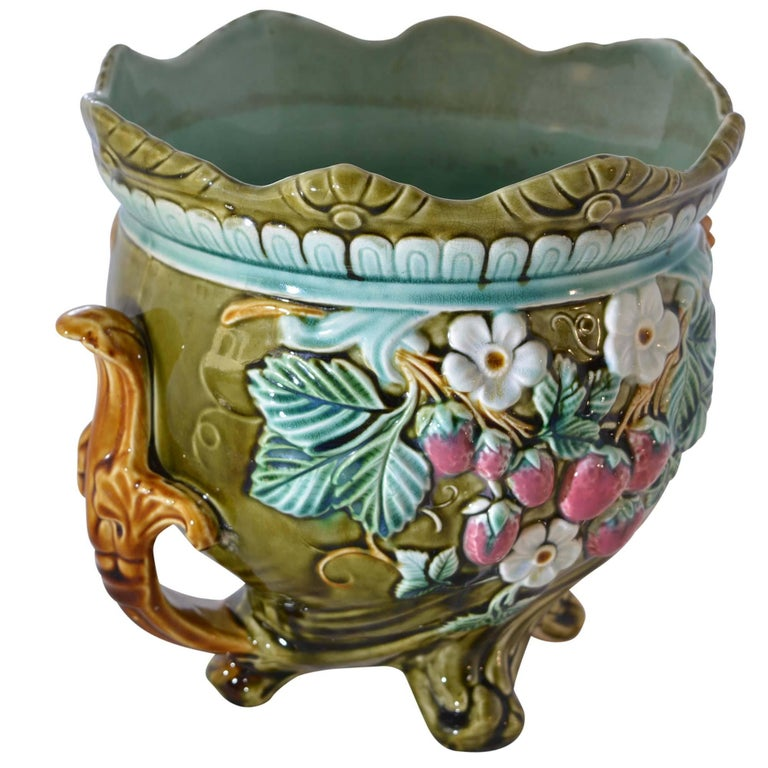 Antique Onnaing Majolica Jardinière Bowl with Strawberry Accents For Sale