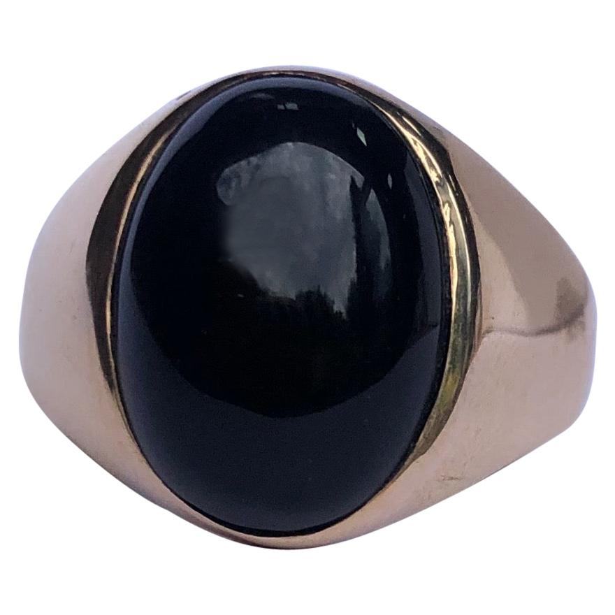 Antique Onyx and 9 Carat Gold Signet Ring