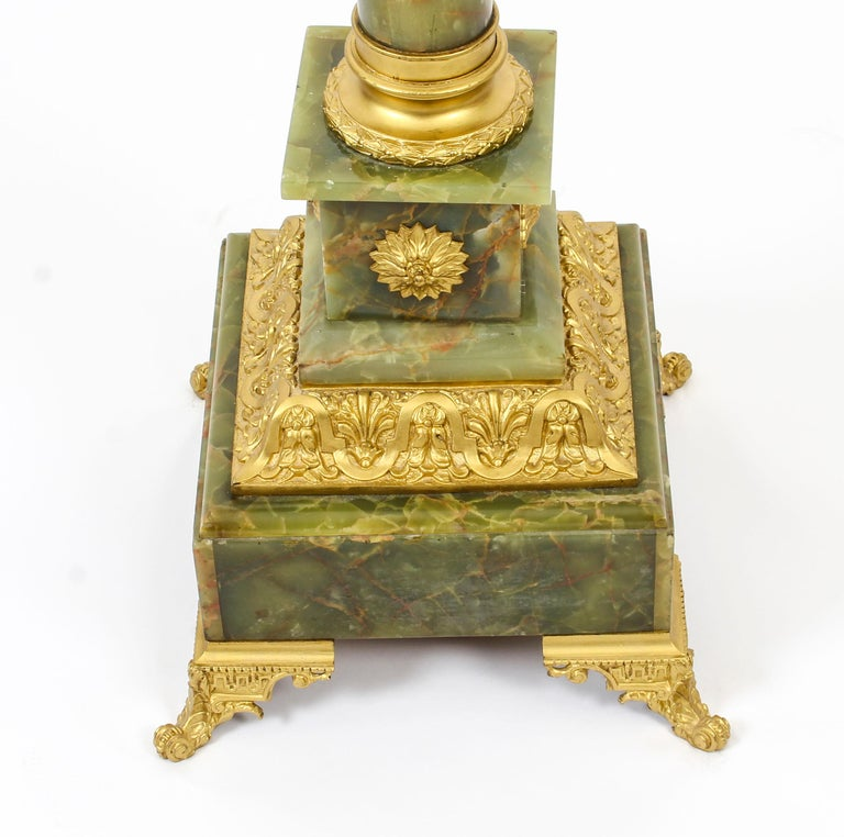 Antique Onyx and Ormolu Floor Standard Lamp Louis Revival, Early 20th Century For Sale 5