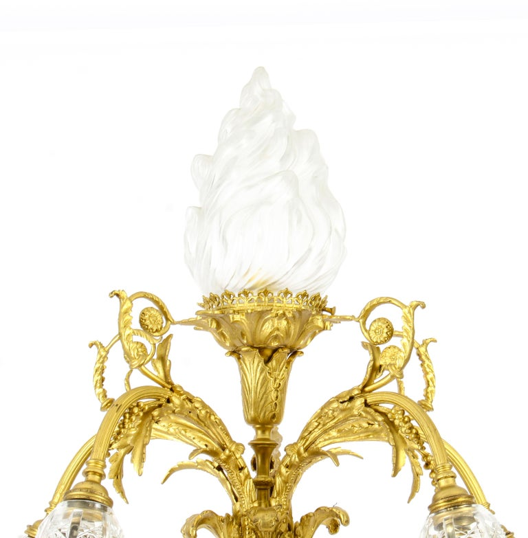 Louis XVI Antique Onyx and Ormolu Floor Standard Lamp Louis Revival, Early 20th Century For Sale