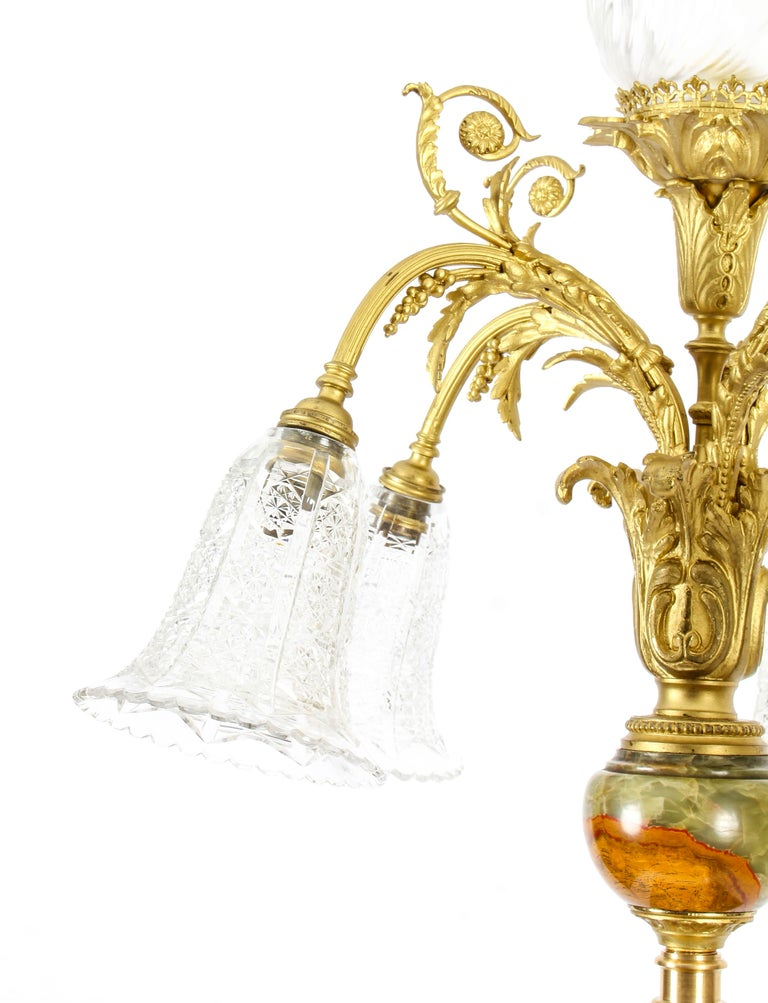 Antique Onyx and Ormolu Floor Standard Lamp Louis Revival, Early 20th Century In Good Condition For Sale In London, GB