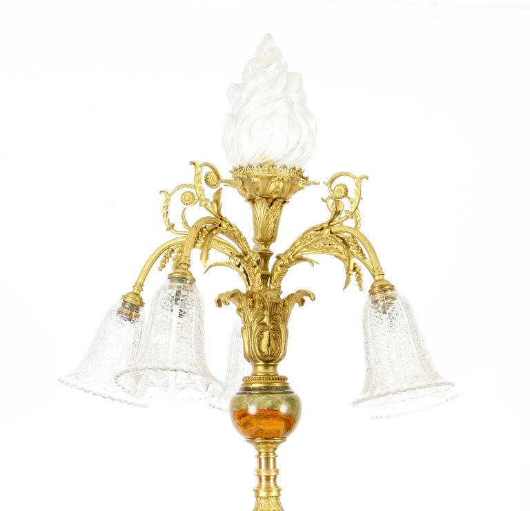 Antique Onyx and Ormolu Floor Standard Lamp Louis Revival, Early 20th Century For Sale 2