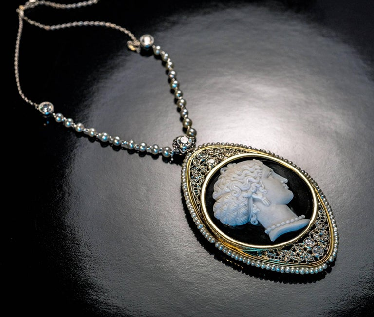 Women's or Men's Antique Onyx Cameo Diamond Pearl Necklace For Sale