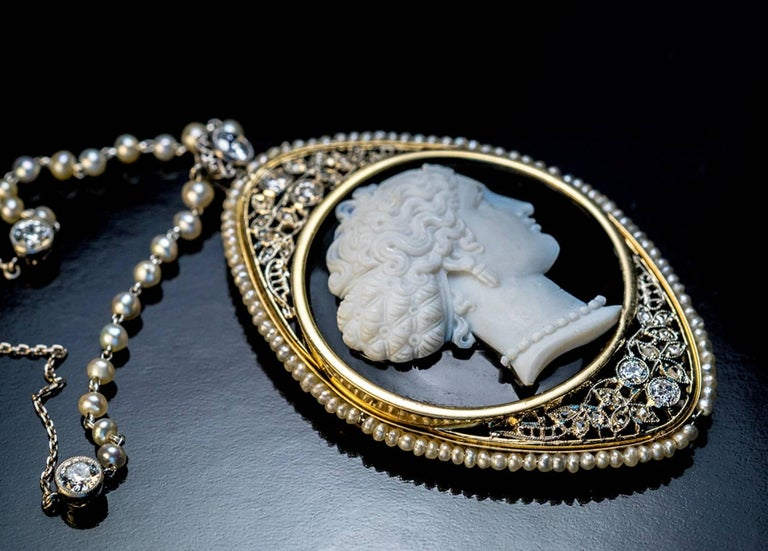 Antique Onyx Cameo Diamond Pearl Necklace For Sale 1