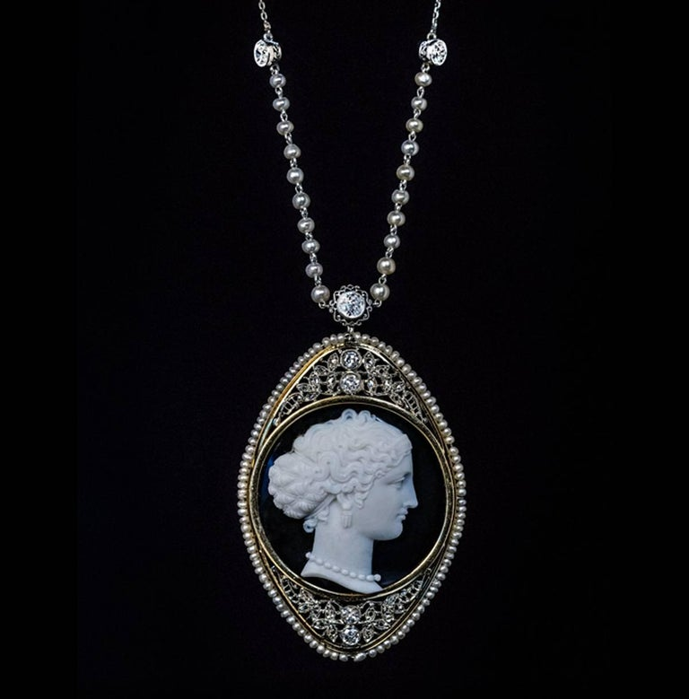 Antique Onyx Cameo Diamond Pearl Necklace For Sale 3